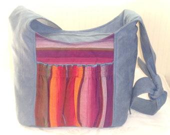 Big Hobo Tote Bag Babywearing Blue Tote Bag with Girasol Chichi Rot PLUS FREE Lanyard from Girasol