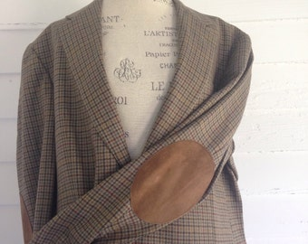 Austin Reed Plaid Wool Professor's Jacket with Leather Elbow Patches