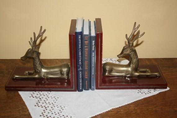 Vintage deer buck brass bookends cherry wood by astridspasttimes - Deer antler bookends ...