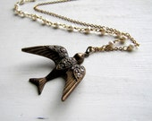Freshwater Pearl Necklace  Flying Bird Long Pearl Necklace Bird Jewelry Vintage Necklace Long Boho Necklace Art Deco Jewelry Delicate Pearl