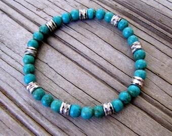 Turquoise Stretch Bracelet Boho Bracelet Boho Jewelry Tribal Jewelry Stacking Bracelet Stack Bracelet Stone Bracelet Casual Jewelry