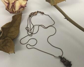 CA Small Owl Necklace_Copper