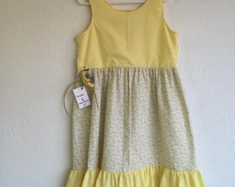 5T-6 Year Old Girl Dress w/Crochet Headband_Yellow Floral