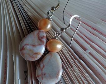 Redline Caramel Jasper Earring Sets,  Peach Pearl Earrings, Teardrop Bead Dangle Earrings, Caramel and Peach Earrings, by lanesamarie