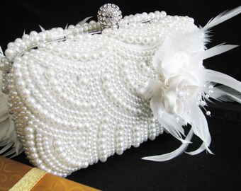 Wedding Bag Clutch Formal Evening Bag with Faux pearl