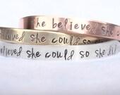 Graduation Gift, She Believed She Could So She Did Bracelet, Graduation 2017, Gifts for Graduation, Personalized Cuff, natashaaloha