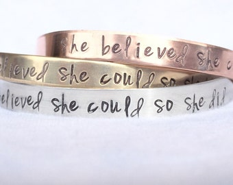 Valentines Gift, She Believed She Could So She Did Bracelet, Graduation 2018, Gifts for Graduation, Personalized Cuff, natashaaloha