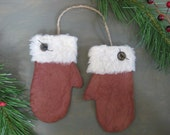 Primitive Mitten Ornies or Bowl Fillers - Flat Christmas Mittens - Red,Maroon Grungy Fabric - Primitive Holiday Decor - Christmas Ornaments