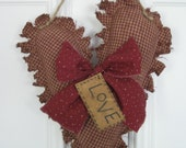 Valentine Rag Heart Hanging - Primitive - Maroon Homespun Fabric - Valentine's Day - Wedding - Anniversary - Love - Door Hanger on Twine