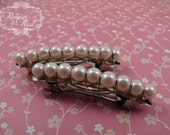 French Barrettes - Blush - Set of 2 - pale blush glass pearls on steel french barrettes for girls, teens, and women by reynared