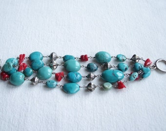 """Turquoise and Red Coral Boho 4 Row Bracelet for Small Wrist 6"""""""