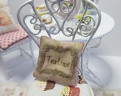 Dollshouse Miniatures. Cushion Pillow. Tea Shop, Teatime Design