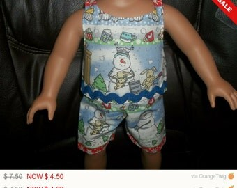 American 18 Inch Doll Clothes handmade Snowman Top and Shorts