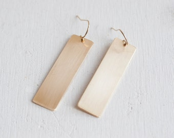 Brass Rectangle Earrings | 14k Gold Fill Hooks
