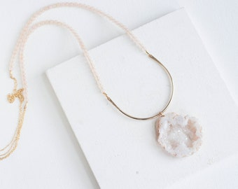 Geode + Pink Chalcedony Arc Necklace | 14k Gold Fill