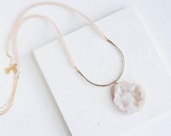 FLASH SALE!!!! Geode + Pink Chalcedony Arc Necklace | 14k Gold Fill
