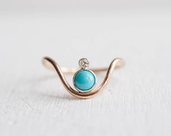Turquoise + Moissanite Curve Ring | 14k Gold Fill