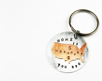 Keychain for Boyfriend, Girlfriend, Husband, Wife - Home is Wherever You Are - United States Map