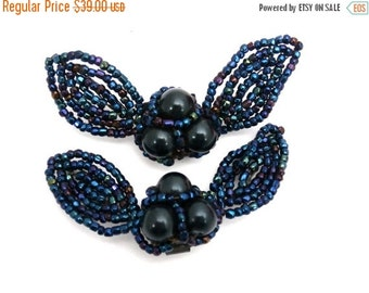 On Sale Now Vintage 1940s Shoe Buckles Blue Carnival Glass Bows 2.5""