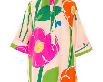 Perfect Spring Vintage Catherine Ogust /Penthouse Gallery Shirt Dress/Tunic Bright Floral Cotton L 1970s