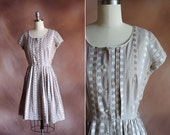 vintage 1950's pale brown & white embroidered gingham pleated day dress / size s - m