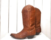 Leather Cowboy Boots Dingo Whiskey Brown Boots 1970s Vintage Mens 8 Womens 9.5