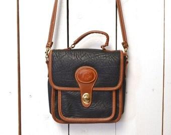 Cross Body Bag, Early 90s Vintage Bag, Two Tone, Faux Leather, Convertible Handbag, Black Shoulder Bag