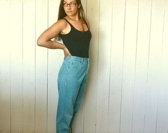 """High Waist Skinny Jeans 1980s Vintage Turquoise Blue by SOS Size 9 10 30"""" Waist"""