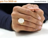 SUMMER SALE - gold statement ring,vintage ring,moonstone ring,gold ring,oval ring,prong setting ring,double band rings,gemstone ri