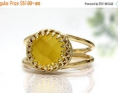 yellow stone ring,chalcedony ring,faceted gold ring,yellow ring,moms ring,mothers ring,fashion ring,birthday ring