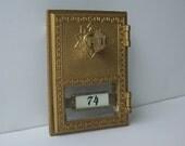 Mail Box Door 1960's Brass Salsbury Star Locking Mail Box Door, Industrial Decor, Supply
