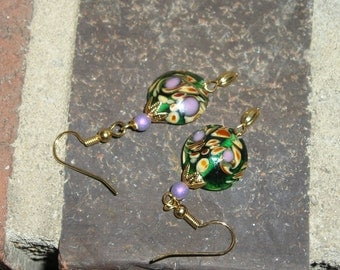 five dollar earrings, five dollar gifts, hand blown glass earrings, Montana, swirl, Tucson, brass earwires, boho