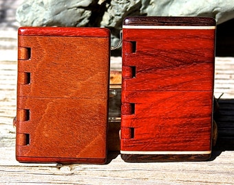 Handmade Wood Business Card Holder of Mahogany/Black Veneer/Padauk or Padauk/Maple/Wenge with integral wood hinge