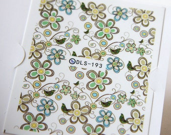 One Sheet of Mixed Flower Nail Stickers / Nail Art  (193)