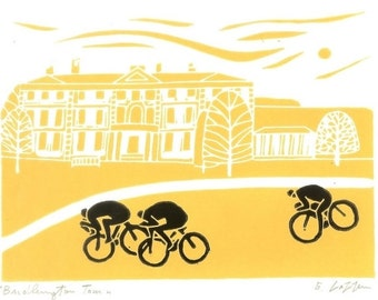 Tour The Yorkshire - Bridlington , Bike Linocut,UK Cycling Art - Bicycle Print - Yellow  or Black Blue Print Signed Giuliana Lazzerini