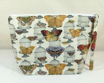 Knitting Project Bag - Large Zipper Wedge Bag in Butterfly and Birdcage Quilting Fabric with Gray and Gold Diamond Cotton Lining