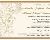Rush Romantic Pink and Gold Wedding Invitations, Rustic Summer Wedding, Custom Wedding Invitation Listing for cpscerbo