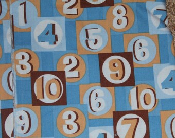 Blue and Brown Numbers Crib/Toddler Bed Fitted Sheet