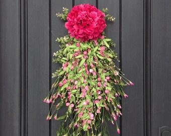Spring Wreath Summer Wreath Teardrop Vertical Door Swag Decor Pink Hydrangea Pink Floral Swag Lime Wispy