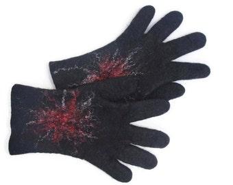 Felted gloves Merino Wool Black
