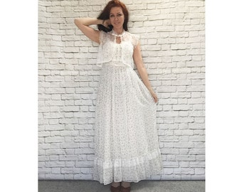 Vintage 70s Calico Floral Ruffled Prairie Maxi Sun Dress Sheer Lace Top XS S Cream White