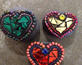 "3 mini mosaic ""rocks of Love"""