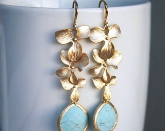 Orchid Earrings in Gold with Turquoise.Turquoise Earrings.Orchids Earrings.Bridesmaids Earrings.Wedding Earrings.Bridal Jewelry. Turquoise.