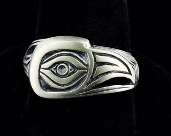 Sterling Silver Haida Raven Style Ring with Oxidized Accent