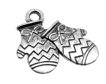 Silver Charms : 10 Antique Silver Winter Mitten Charms   Double-Sided Silver Mittens Charms 17x16mm -- Lead, Nickel & Cadmium free 64425.J5A