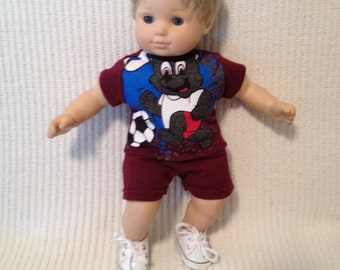 15 inch boy doll (modeled by Bitty Baby) Soccer shirt with matching shorts