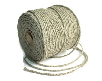 2.5 mm Linen Rope = 1 Spool = 110 Yards = 100 Meters of Natural Linen Twisted Cord - Decorative Rope