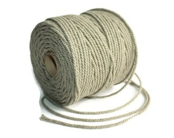 2.5 mm Linen Rope = 1 Spool = 55 Yards = 50 Meters of Natural Linen Twisted Cord - Decorative Rope