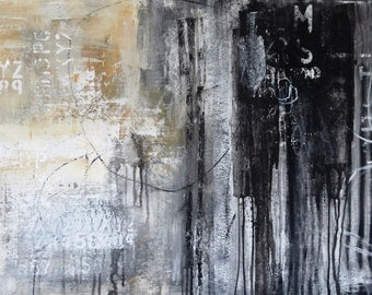 """black and white  Painting  48"""" Acrylic Painting large abstract painting   from Jolina Anthony"""