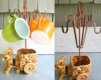 Donkey Planter Mug Tree Stand Fire King Cups Set Vintage 1970s Home Kitchen Decor